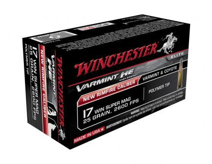 Winchester Varmint HE 17 WSM Ammo 25 Grain Polymer Tip, 50 rds