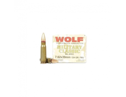 Wolf 124 Grain FMJ Steel Case 7.62x39 Ammo