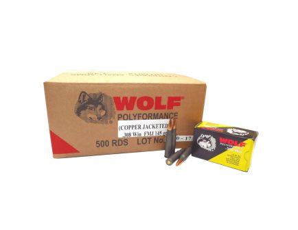 Wolf Performance PolyFormance 145 gr Full Metal Jacket .308 Win/7.62 Ammo, 500/case - 308CFMJ