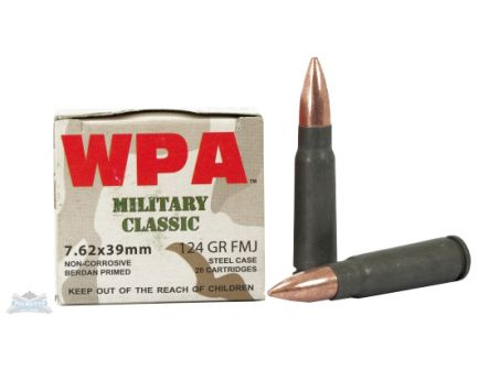 Wolf 7.62x39 124gr FMJ Military Classic Ammuntion 20rds - 762BFMJ