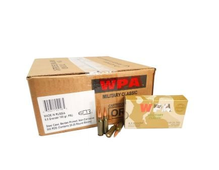 Wolf Performance Military Classic 100 gr Full Metal Jacket Boat Tail 6.5mm Grendel Ammo, 500 rds/case - MC65GRENFMH