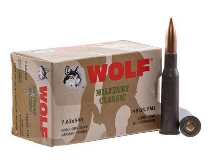 Wolf Performance Military Classic 148 gr Full Metal Jacket 7.62x54mmR Ammo, 500/box - MC76254R148