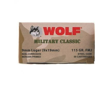 Wolf Steel Cased 9MM 115 gr FMJ 50 Rounds Ammunition - WPA919FMJ